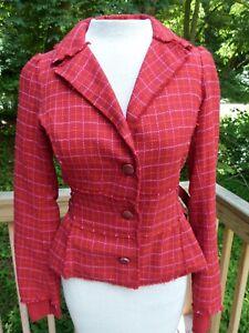 Free People Red Plaid Fringe Trim Cotton Blazer Jacket sz 0 Side Belts Lined