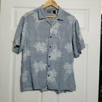 Axist Men's Button Down Silk Shirt ~ Sz L ~ Light Blue ~Short Sleeve ~Palm Trees