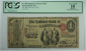 1865 $1 West Troy New York NY National Bank CH# 1265 Fr. 380 PCGS VG-10