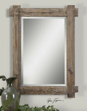 Rustic Vanity Wall Mirror 39� Distressed Wood Frame Lodge Cabin Farmhouse Decor