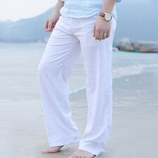 Mens Linen Loose Slacks Pants Beach Drawstring Yoga Casual Long Slacks Trousers