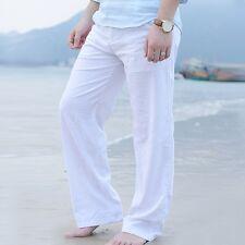 Mens Linen Loose Slacks Pants Beach Drawstring Yoga Casual Long Slacks Trousers