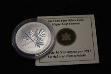 2011 $10 Canada Fine Silver  MAPLE LEAF FOREVER  1/2 OZ - coin with CAO