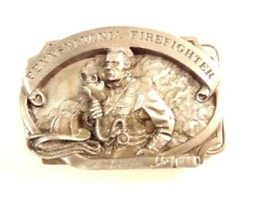 1989 Pennsylvania Firefighters pewter color belt buckle: No. 390 of 5000