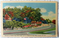 LINEN POSTCARD ENTRANCE TO HAWKS NEST STATE PARK NEW RIVER CANYON WEST VIRGINIA