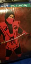 New Complete Red/black Ninja Costume 7 Piece set BoyXl 14-16 Sword not included