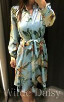 ZARA NEW FLORAL PRINT MIDI SHIRT DRESS COLLAR BUTTONS BELT POCKETS SIZE XS-XXL