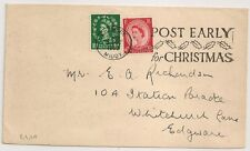 STAMPS RARE ON COVER.  ENGLAND, EDGWARE POST EARLY FOR CHRISTMAS. 1952.  L411