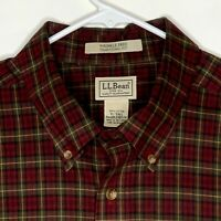 LL Bean Mens Designer Shirt LS Red Green Plaid XL Tall