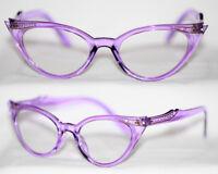 Cat Eye Nerd Brille Katzenaugenbrille lila transparent Klarglass Rockabilly 311