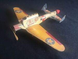 Vintage Gotham Pressed Steel Military Airplane Marx Wyandotte Buddy L Tin Toy