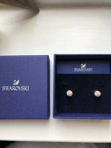 Swarovski Pale Pink Blow Earrings Rose Gold Brand New In Box
