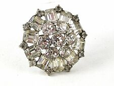 1950's -60's Silver Tone Sparkly Rhinestone Brooch By WEISS 102416