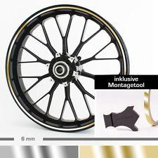 """Chrom Felgenrandaufkleber 6 mm 10""""-28"""" ver.Farb. + Montagetool Silber Gold"""