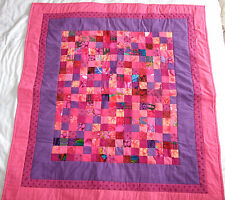Handmade Small Patchwork Quilt Bright Pink Purple Throw Baby Child Playmat NEW
