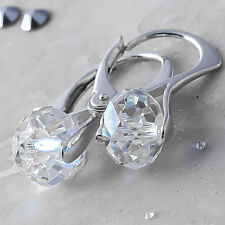 925 Sterling Silver Earrings *Briolette* Clear Genuine Crystals from Swarovski®