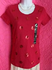 NWT $40 BANANA REPUBLIC Raspberry Pink Tee Shirt Cotton Red Sequin Polka Dots XS