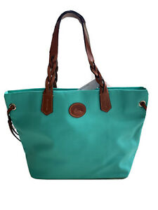Dooney & Bourke Mint Nylon Leather Shopper Tote Bag Braided Handles NWT