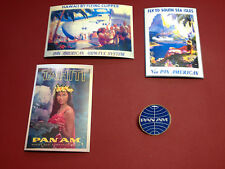 2# PAN AMERICAN AIRLINES  GOLD PLATE BADGE +  3 X RETRO ADVERT STICKERS