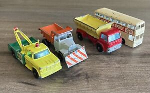 4 Vintage Lesney Matchbox Trucks 13 BP Dodge 16 Snow Plough 70 Grit 74 Esco Bus