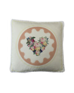 """16"""" Vintage style Peach Floral Hearts White pompom trim scatter cushion covers"""