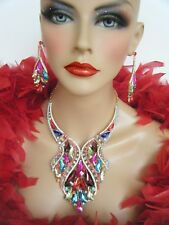 MULTI-COLOR RHINESTONE MARQUISE NECKLACE SET STATEMENT EVENING DRAG QUEEN