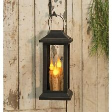 Primitive BURNT IVORY TAPER CANDLE LANTERN Lamp Battery Taper Light Black 10""