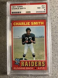 1971 TOPPS # 21 CHARLIE SMITH PSA 8 OAKLAND RAIDERS