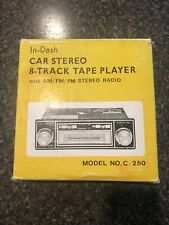 """""""In-Dash Car Stereo 8 Track Tape Player & Am/Fm Stereo Radio C-250"""" New In Box"""