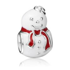 White Snowman Charm Bead Christmas Red Scarf fits all European bracelets UK