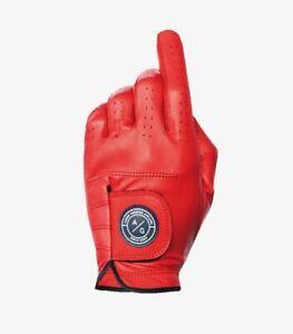 ASHER PREMIUM CABRETTA GOLF GLOVE, RED BURST! FITS LEFT HAND OF RIGHTY