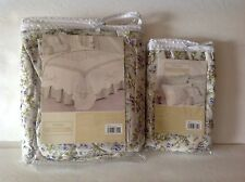 Peking Handicraft Violetta White/Green/Pink Floral TWIN BEDSKIRT & EURO Set~2 PC
