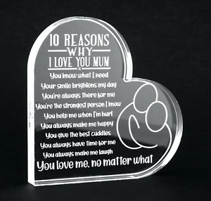 Engraved Love Heart with Gift Box. Mum Gran Nana Aunt Sister Cousin Keepsake