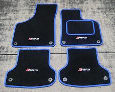 Negro Alfombrillas Coche con/Azul Borde para Audi RS3 8P 11-12 + RS3 Logos x4