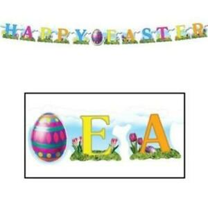 seasonal rabbit holiday decorations Easter bunny egg hunt sign pastel spring decor bright colorful Easter garland Happy Easter banner