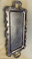 """VTG Leonard Silver Plated Footed  Butler's Tray w/ Handles : Rectangular 25"""""""