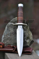 CUSTOM HANDMADE D2 TOOL STEEL HUNTING DAGGER BOWIE KNIFE STACKED LEATHER HANDLE