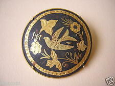 Toledo goldfarbene Brosche Vogel/Blumen Motiv 11,2 g / Ø 3,3 cm
