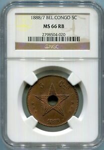 Congo Free State - 1888/7 5c In NGC MS 66 RB