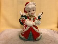 Vintage Napco Christmas Shopping Girl Planter Gift Candy Cane Bow S1699 1954