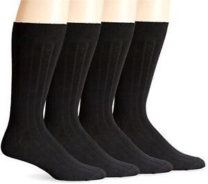 DRCkers Men's Wide Rib Dress Crew Socks (4 & 8 Packs), Black),, Black, Size 6.0