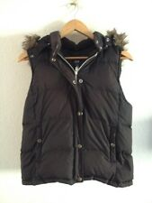 Ladies Gilet By GAP Size S 10 Padded Chocolate Faux Fur Trim <R13297