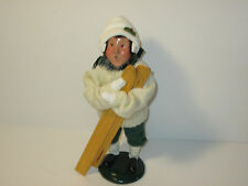Byers Choice Retired 1995 Boy with White Knit Sweater Earmuffs and Skis
