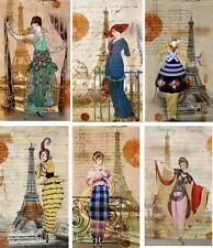 Vintage inspired Eiffel Tower Paris fashion note cards set of 6 with envelopes