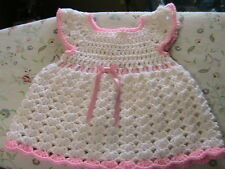 WHITE SHELLS with PINK TRIMS CROCHET BABY DRESS size 6-12mos pink flower buttons