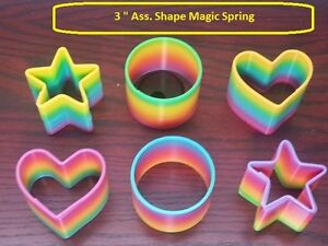 "Magic rainbow spring. 3"" Diameter (6 pcs lot, 3 different shape)"