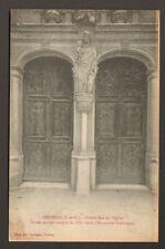VETHEUIL (95) PORTAIL EGLISE en BOIS Sculpté du XII° S.