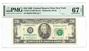 1990 $20  Fr 2077-B New York PMG 67 EPQ Superb Gem Uncirculated