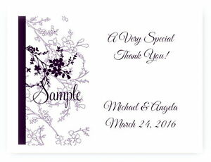 100 Personalized Purple Floral Bridal Wedding Thank You Cards