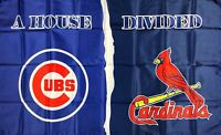 St. Louis Cardinals vs Chicago Cubs House Divided MLB Flag 3x5 ft Blue Banner